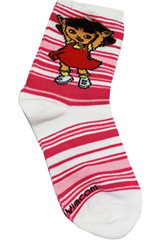 Dora the Explorer Pink/White Kids Ankle Socks (2 Pairs, Size 5-6.5)