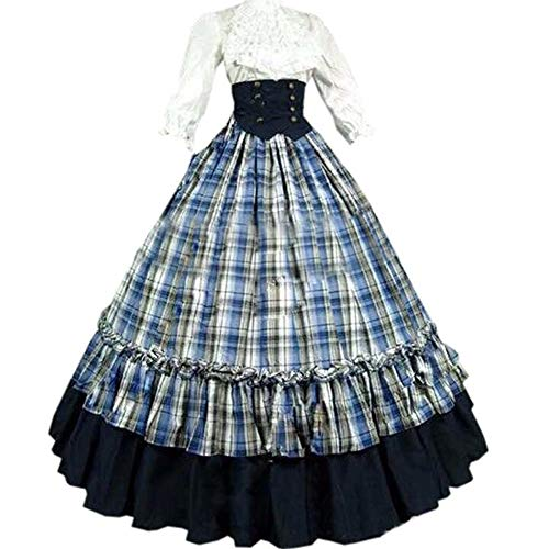 I-Youth Womens Renaissance Civil War Victorian Dress Southern Belle Cosplay Medieval Pioneer Dickensonian Costume (M, Blue) -