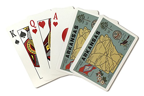 (Detailed State Map - Greetings From Arkansas (Playing Card Deck - 52 Card Poker Size with Jokers) )
