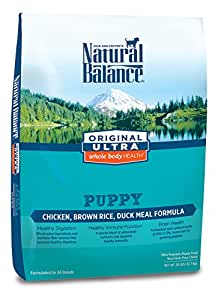 Natural Balance Puppy Formula Dry Dog Food, Original Ultra Whole Body Health, Chicken, Brown Rice & Duck Meal Formula, 28-Pound