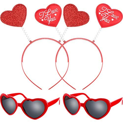 Bememo 4 Pieces Valentines Day Red Heart Headbopper Glitter Heart Headband and Heart Sunglasses for Girls