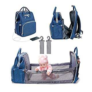 3 in 1 Diaper Bag Backpack Foldable Baby Bed Multifunctional Waterproof Travel Bag with USB Charge,Large Capacity Baby Changing Bag (Blue)