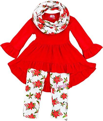 Boutique Clothing Girls Christmas Poinsettia Hi-Low Scarf Set 5T