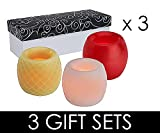 Candle Impressions Real Wax Flameless Hurricane LED Candle Gift Set - Includes Timer, Batteries and Gift Boxes - 3 Gift Set Trios (9 LED Candles Total)