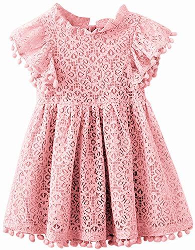 (2Bunnies Girl Vintage Lace Pom Pom Trim Birthday Party Dress (Dark Pink, 4))
