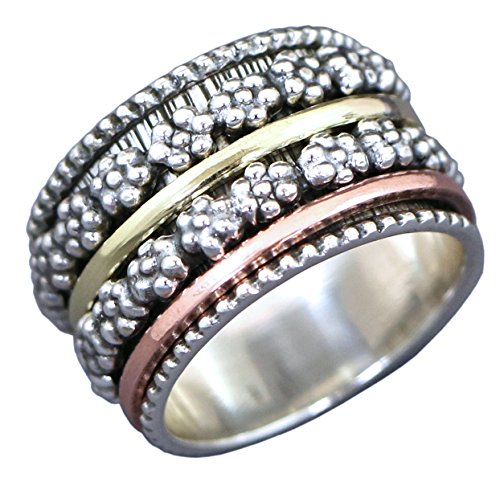 Meditation Ring with 4 spinning rings 1 Brass 1 Copper 2 Flower Spinning  Rings in Sterling Silver by Energy Stone Jewelry (sku# US16) (9)