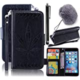 Samsung Galaxy S8 Plus Wallet Case,Vandot Luxury Vintage Slim Fit PU Leather Flip Folio Stand Magnetic Cover Shockproof Emboss Maple Leaf Pattern with Wrist Strap+Pompon Ball+Stylus Pen-Black