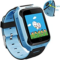 1.44 inch Touch GPS Tracker Kids Smart Watch for Children Girls Boys with Camera SIM Calls Anti-lost SOS Smartwatch Bracelet for iPhone Android (Blue)