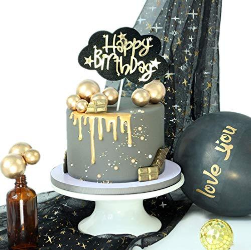 Black Cloud Happy Birthday Cake Topper, Birthday Twinkle DIY Glitter First Birthday Cupcake Topper Cake Smash Candle Alternative Party Handmade