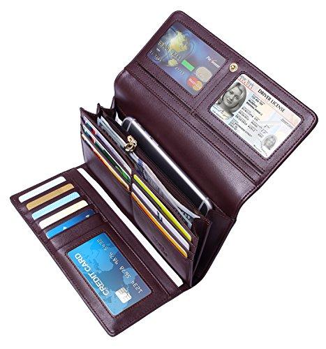 Tonly Monders Women's RFID Blocking Tri-fold Wallet Full Grain Leather Card Holder Ladies Clutch Purse (Coffee) ()