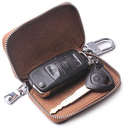 Car key case,Genuine Leather Car Smart Key Chain Keychain Holder Metal Hook and Keyring Zipper Bag for Remote Key Fob -