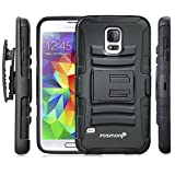 Fosmon® Samsung Galaxy S5 (STURDY Series) Heavy Duty Dual Layer Hybrid Holster Case with Kickstand and Belt Clip for Samsung Galaxy S5 SV 2014 - Fosmon Retail Packaging (Black)