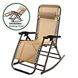 Folding Rocking Chair PARTYSAVING Tan Infinity Zero Gravity Rocking Outdoor Patio Folding Lounge Reclining Chair, APL1889