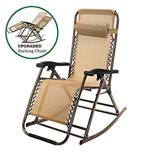 PARTYSAVING Tan Infinity Zero Gravity Rocking Outdoor Patio Folding Lounge Reclining Chair, APL1889