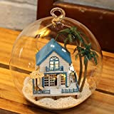 Mini Glass DIY Wooden Dollhouse Kit for girls - DIY Assembling Model 3d Puzzle Home Decor Display Creative Handcraft Building Toys Gift for Child (Romantic Aegean Sea)