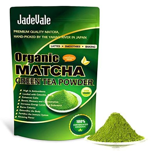 JadeVale Matcha Green Tea Powder - Premium Culinary Grade - USDA Organic - Powerful Antioxidant - Perfect for Baking, Smoothies, Latte, Iced Tea. Gluten & Sugar Free 4oz /113g