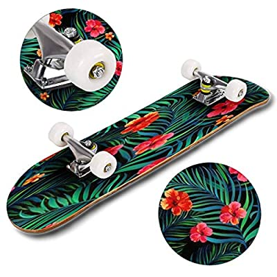 Classic Concave Skateboard Vector Tropical Seamless Pattern with Hibiscus Flowers and Palm Leaves Longboard Maple Deck Extreme Sports and Outdoors Double Kick Trick for Beginners and Professionals : Sports & Outdoors