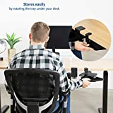 VIVO Black Desk Clamp Adjustable Computer Mouse Pad and Device Holder Extended Rotating Platform Tray | Fits up to 2 inch Desktops