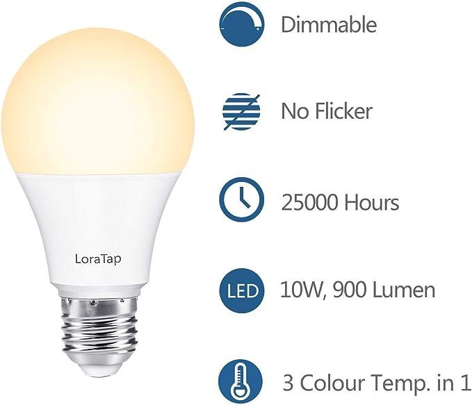 LoraTap LED E27 Wireless Dimmer Set Lichtschalter mit Sender | Warmweiß Neutralweiß Tageslichtweiß in einem | kabellos dimmbar | 200m Funkreichweite