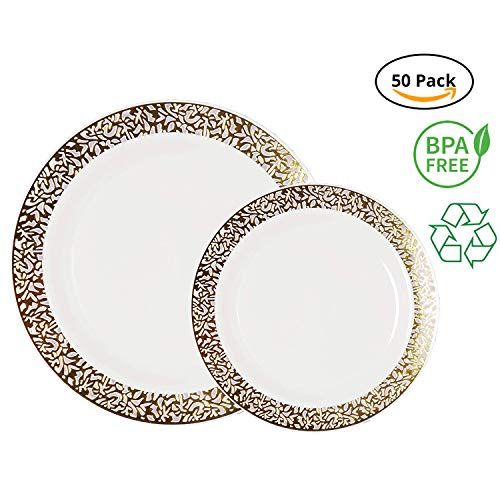 White Wedding Collection - Party Joy 50-Piece Plastic Dinnerware Set | Lace Collection | (25) Dinner Plates & (25) Salad Plates | Heavy Duty Premium Plastic Plates for Wedding, Parties, Camping & More (White w/ Gold Lace)