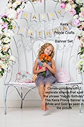 Keira Prince Happy Birthday Banner, Chic White and Gold Party Decorations, Versatile, Beautiful, Swallowtail Bunting Flag garland