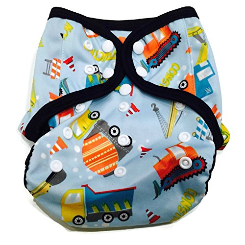 BB2 Baby One Size Printed Black Gussets Snaps Cloth Diaper Cover for Prefolds (One Size, Construction Site)