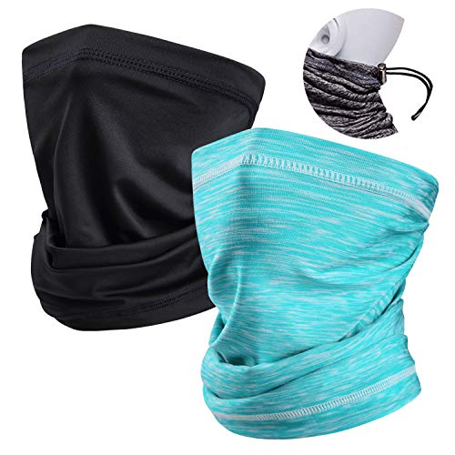 Neck Gaiters Face Mask Cover Scarf Headband Bandanas UV Protection fo Men Women with Elastic Adjustable Rope