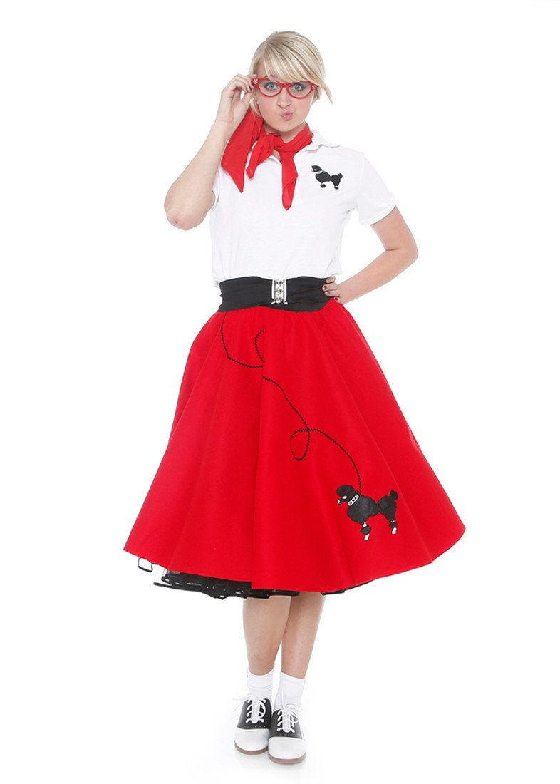 Hip Hop 50s Shop Adult 7 Piece Poodle Skirt Costume Set Red Medium by Hip Hop 50s Shop