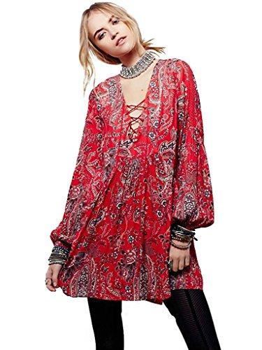 Lunga Biyouth Abito Stile Rosso Etnico Tunica Epoca Casuale Manica Sciolto Bohemien Stampato 6xU5qwUT