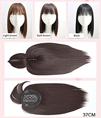 BESTLEE Synthetic Human Hair Mono Hairpiece for Hair Loss Clip in/on Hair Topper with Air Bangs 12 Inches