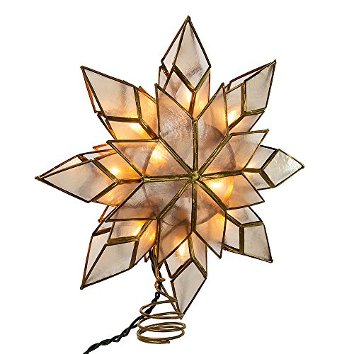 Christmas Lights Tree Toppers - Kurt Adler 9-Inch Capiz Star Tree Topper with 10 Clear Lights and 1 Spare Bulb