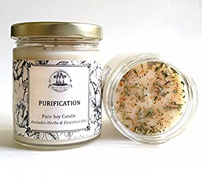 Purification 6 oz Soy Herbal Candle for Negativity, Unwanted Energies, Purifies, Cleanses & Banishes
