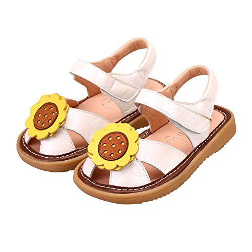Tortor 1Bacha Baby Girls' Sunflower Leather Closed Toe Sandals Squeaky Shoes White 7 M US Toddler