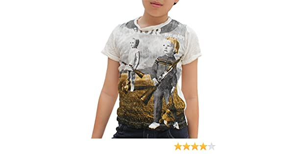 Full Funk Vintage Crinkled Cotton Childs Shirt Kids with Armaments
