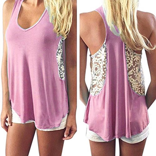 Gillberry Women Summer Lace Vest Top Short Sleeve Blouse Casual Tank Top T-Shirt (Pink, S)