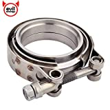 EVIL ENERGY 2.25 Inch 2 1/4 Stainless Steel Exhaust V Band Clamp Male Female Flange Kit