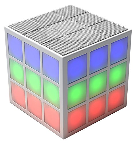 Rubiks Bluetooth LED Speaker with Built-in 360 degree Light Show in White