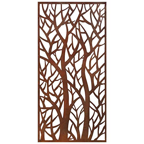Stratco Decorative Privacy Screen Panel | 4' x 2' Screen |Forest Design with Rustic Look Four Foot by Two Foot Lightweight Metal Privacy Screen