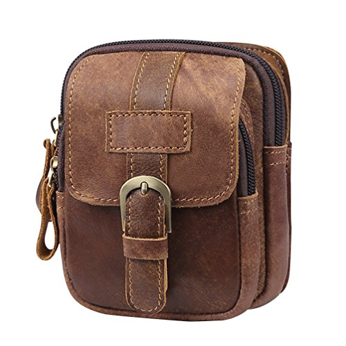 VBIGER Men Cowhide Waist Bag Retro Waist Pack Fanny Bag Cellphone Waist Pouch by VBIGER (Image #7)