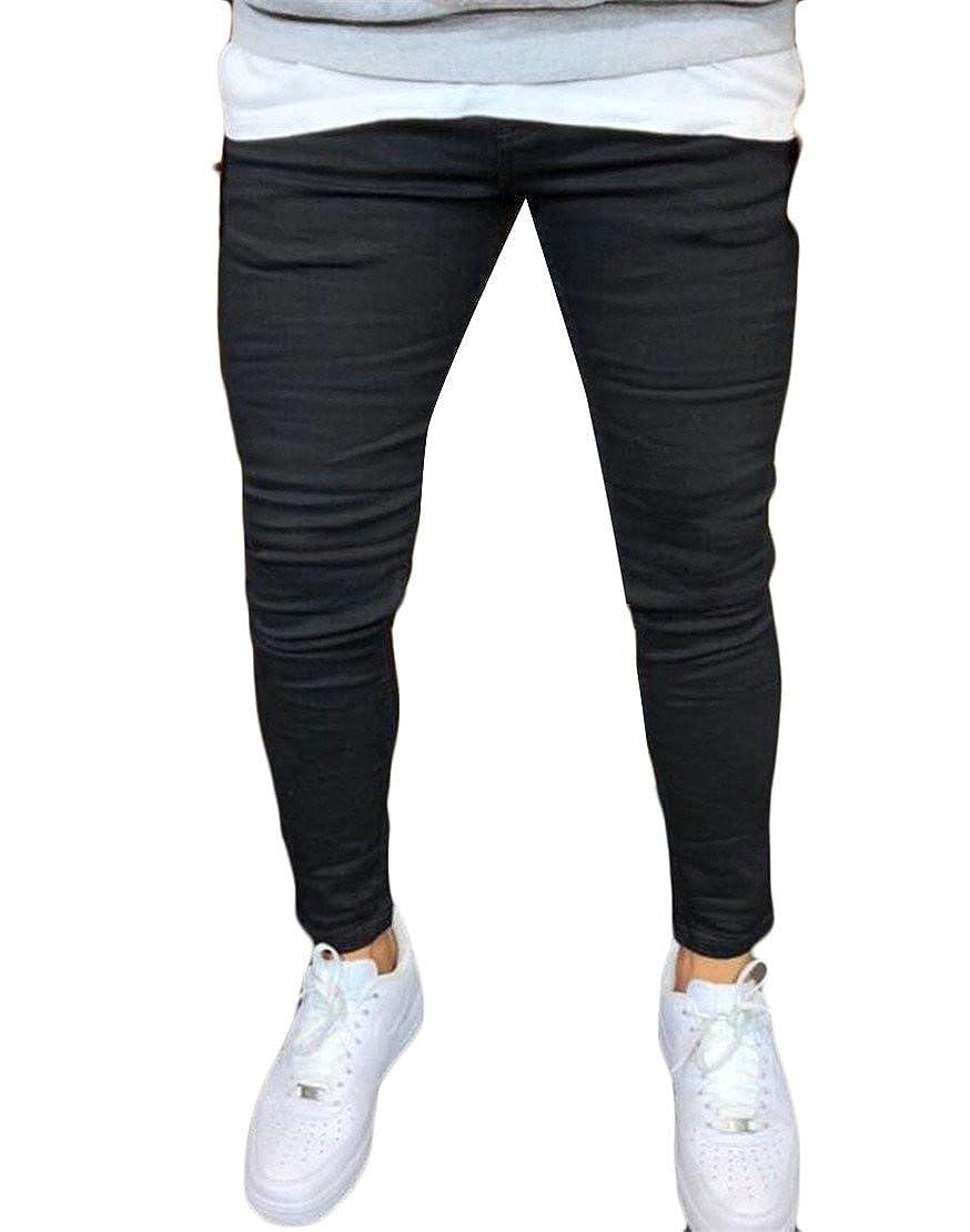 Frieed Men Plain Stretchy Skinny Straight Leg Stylish Long Pants