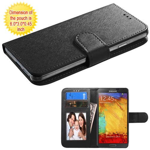 "Case+Stylus Mybat PU Leather Purse Fits Universal Samsung, Apple, LG, etc. Wallet for Cell Phone Size 4.7""-5.2""-Black Medium. with Credit Card Slots. Fits The Following Models:"
