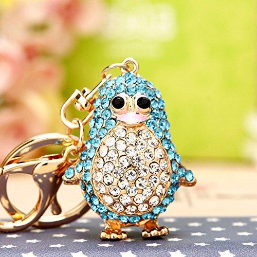 Cute Penguin Keychain Blingbling Keyring Crystal Rhinestones Purse Pendant Handbag Charm (Blue)]()
