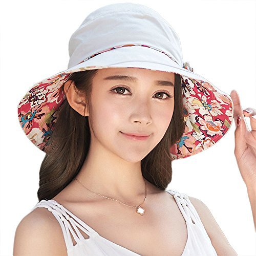 Siggi Bucket Boonie Cord Fishing Beach Cap Summer Sun Hat Bowknot Wide Brim for Women (Reversible Uv Protection Hat)