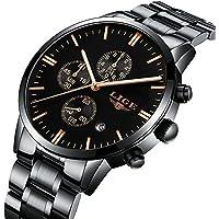 Watch,Men's Fashion Luxury Chronograph Sports Watches,Waterproof Analog Quartz Wrist Watch for Man Steel (Black)