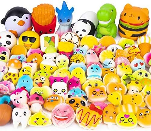 WATINC Random 50 Pcs Squishies Cream Scented Kawaii Simulation Lovely Toy Jumbo Medium Mini Soft Squishy, Phone Straps (WT-Squishy 50Pcs)