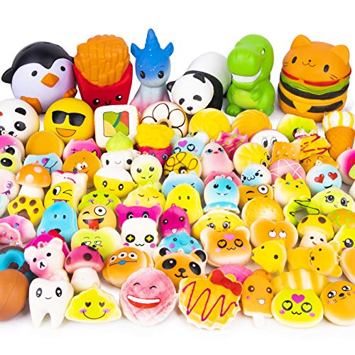 WATINC Random 50 Pcs Squishies Cream Scented Kawaii Simulation Lovely Toy Jumbo Medium Mini Soft Squishy, Phone Straps (WT-Squishy 50Pcs)]()
