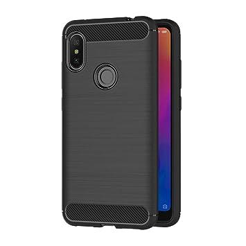 AICEK Funda Xiaomi Redmi Note 6 Pro, Negro Silicona Fundas para Redmi Note 6 Pro Carcasa Xiaomi Redmi Note 6 Pro Fibra de Carbono Funda Case (6,26 ...