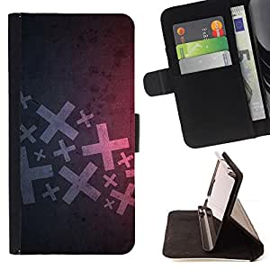 DEVIL CASE - FOR HTC Desire 820 - Abstract X - Style PU Leather Case Wallet Flip Stand Flap Closure Cover