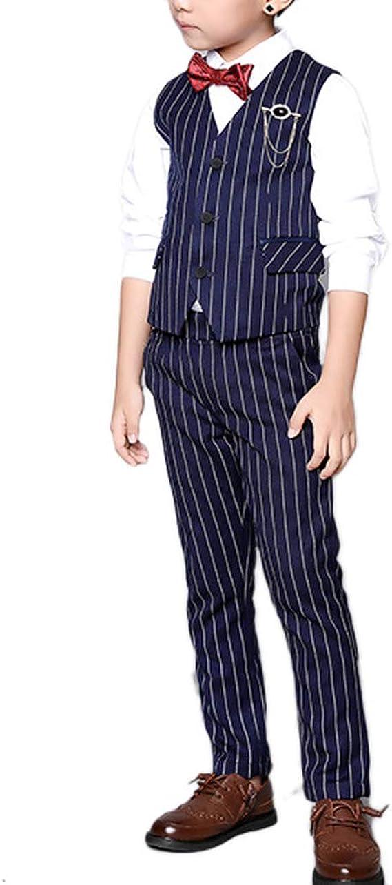 My Mini Gent Boys 4PC Pinstripe Vest Suit Set Many Colors Vest Pants Shirt Tie