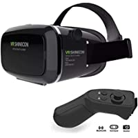 VR Headset KAMLE Virtual Reality Headset -for iPhone X/7/6s/6+/6/5, Samsung, Huawei, Google, Moto & All Android Smartphone With Magnetic Front Cover, Adjust Strap & With Remote Controller